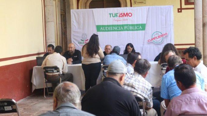 EN AUDIENCIA PÚBLICA, ATIENDE SECRETARIO DE TURISMO A PRESTADORES DE SERVICIOS DEL TEÚL DE GONZÁLEZ ORTEGA