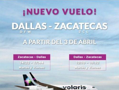 INICIARÁ OPERACIONES NUEVO VUELO DE VOLARIS CON DESTINO ZACATECAS-DALLAS-ZACATECAS